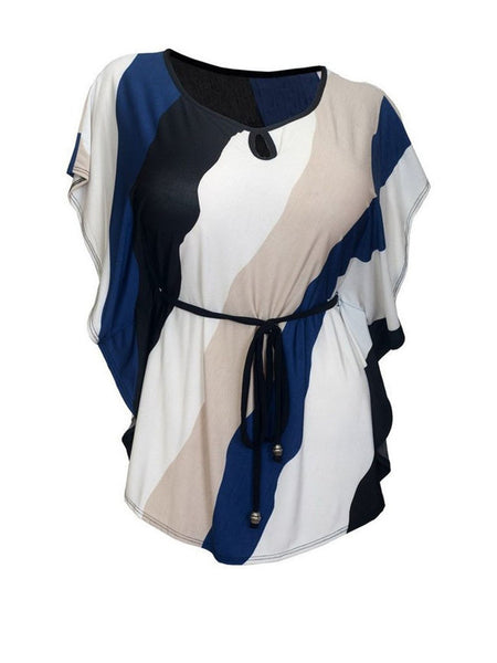 Round Neck Keyhole Color Block Striped Plus Size T-Shirt - Bychicstyle.com