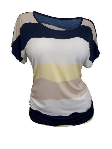 Round Neck Color Block Striped Plus Size T-Shirt - Bychicstyle.com