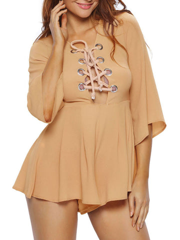 Sexy Charming Lace-Up Hollow Out Plain Flared Romper - Bychicstyle.com