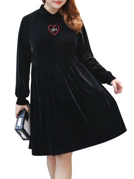 Casual Band Collar Embroidery Velvet Plus Size Flared Dress