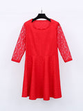 ByChicStyle Casual Attractive Style Hollow Out Plain Lace Plus Size Flared Dress