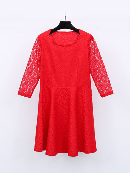 Casual Attractive Style Hollow Out Plain Lace Plus Size Flared Dress