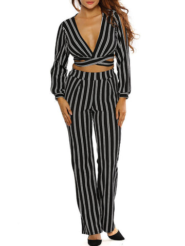 Black White Deep V-Neck Vertical Striped Crop Top And Straight Pant - Bychicstyle.com