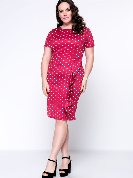 Flounce Polka Dot Round Neck Plus Size Bodycon Dress - Bychicstyle.com