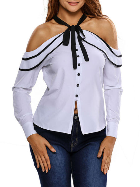 Tie Collar Bowknot Single Breasted Blouse - Bychicstyle.com