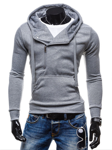 Mens Plain Zips Classic Hoodie - Bychicstyle.com