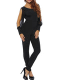 ByChicStyle Slit Sleeve Round Neck Backless Plain Slim-Leg Jumpsuit - Bychicstyle.com