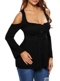 ByChicStyle Open Shoulder Hot Lace-Up Plain Long Sleeve T-Shirt - Bychicstyle.com