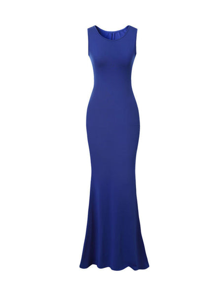 Round Neck Plain Simple Designed Maxi Dress - Bychicstyle.com