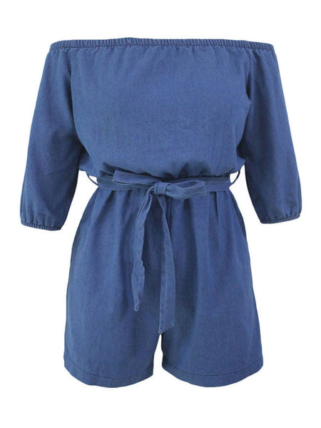 Casual Denim Off Shoulder Plain Straight Romper