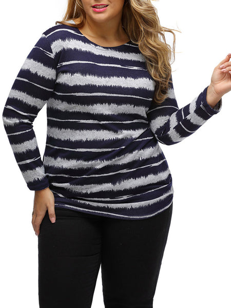 Casual Basic Round Neck Striped Plus Size T-Shirt