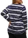 ByChicStyle Casual Basic Round Neck Striped Plus Size T-Shirt