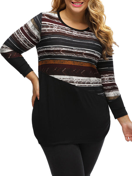 Round Neck Patchwork Striped Plus Size T-Shirt - Bychicstyle.com