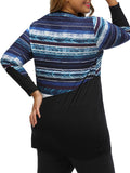 ByChicStyle Round Neck Patchwork Striped Plus Size T-Shirt - Bychicstyle.com