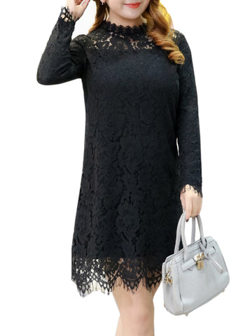 Band Collar Hollow Out Plain Lace Plus Size Shift Dress - Bychicstyle.com