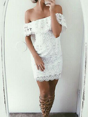 Casual Sexy Bateau Off Shoulder Bodycon White Solid Dress