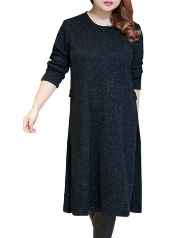 Longline Round Neck Side-Vented Plain Plus Size Sweater - Bychicstyle.com