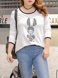 ByChicStyle Round Neck Contrast Trim Cartoon Plus Size T-Shirt - Bychicstyle.com