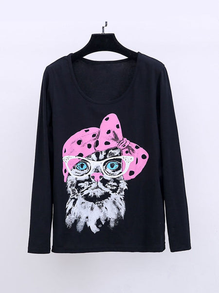 Casual Round Neck Cat Cartoon Plus Size T-Shirt