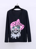 ByChicStyle Casual Round Neck Cat Cartoon Plus Size T-Shirt