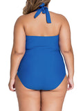 Streetstyle  Casual Backless Plain Halter Plus Size One Piece