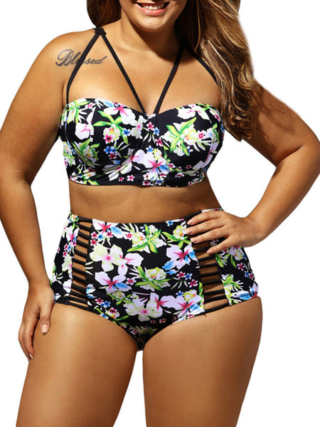Spaghetti Strap Floral Printed Three-Piece Plus Size Swimwear - Bychicstyle.com