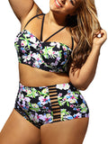 ByChicStyle Spaghetti Strap Floral Printed Three-Piece Plus Size Swimwear - Bychicstyle.com