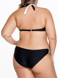 ByChicStyle Color Block Black White Halter Cutout Plus Size One Piece - Bychicstyle.com