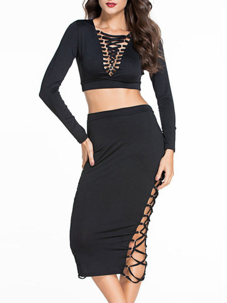 Casual Deep V-Neck Lace-Up Hollow Out Plain Crop Top And Pencil Skirt