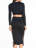 ByChicStyle Casual Deep V-Neck Lace-Up Hollow Out Plain Crop Top And Pencil Skirt