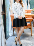 ByChicStyle Casual Plus Size Doll Collar Lace Hollow Out Blouse And Skater Dress