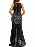 ByChicStyle Sweet Heart High Slit Patchwork Hollow Out Plus Size Evening Dress - Bychicstyle.com