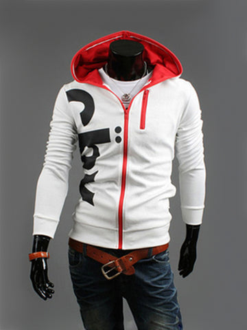 Color Block Designed Letters Men Hoodie - Bychicstyle.com