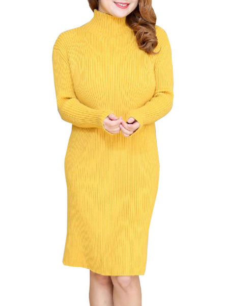 High Neck Plain Basic Plus Size Knitted Dress - Bychicstyle.com