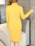 ByChicStyle High Neck Plain Basic Plus Size Knitted Dress - Bychicstyle.com