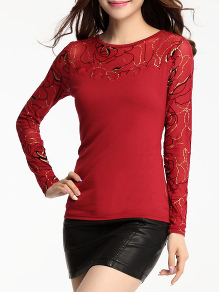 Round Neck Sparkling Designed Patchwork Hollow Out Long Sleeve T-Shirt - Bychicstyle.com
