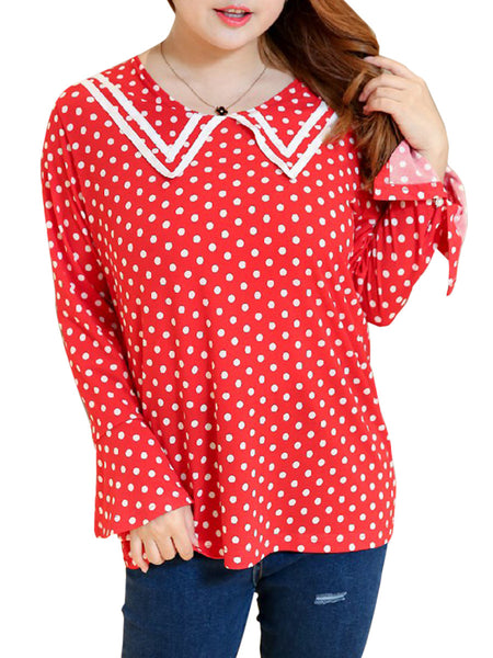 Sailor Collar Polka Dot Bell Sleeve Plus Size Blouse - Bychicstyle.com