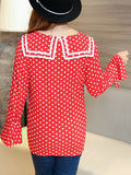 ByChicStyle Sailor Collar Polka Dot Bell Sleeve Plus Size Blouse - Bychicstyle.com