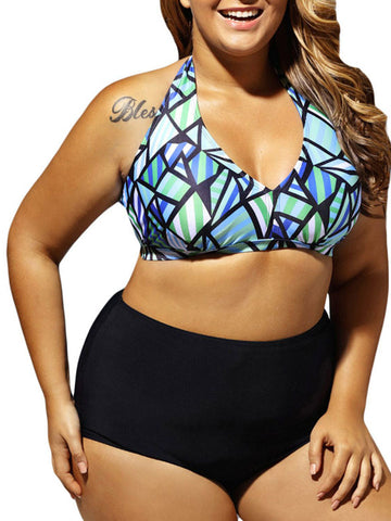 Halter Plus Size Swimwear In Geometric Printed - Bychicstyle.com