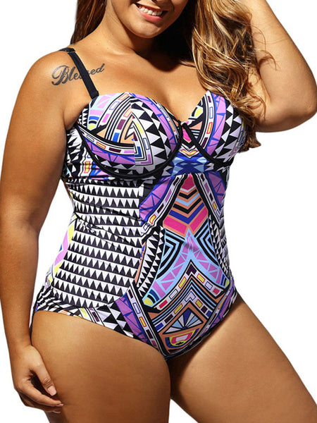 Casual Plus Size Tribal Printed One Piece Swimwear