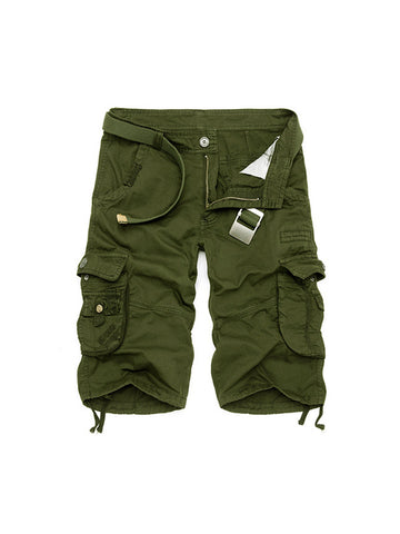 Flap Pocket Plain Straight Mid-Rise Men's Short - Bychicstyle.com
