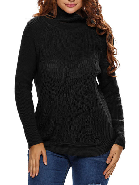 Casual Band Collar Side-Vented Zips Plus Size Sweater