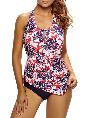 Casual Backless Printed Halter Plus Size Swimwear