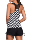 ByChicStyle Casual Zigzag Striped Patchwork Racerback Plus Size Swimwear