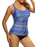 ByChicStyle Casual Zigzag Striped Spaghetti Strap Plus Size Swimwear
