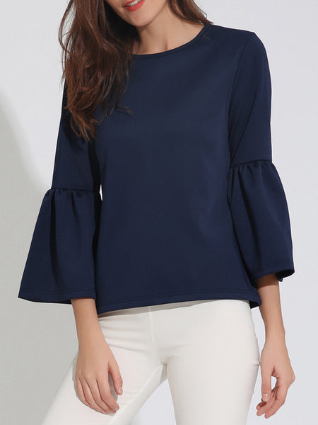 Charming Designed Round Neck Plain Bell Sleeve Plus Size T-Shirt - Bychicstyle.com