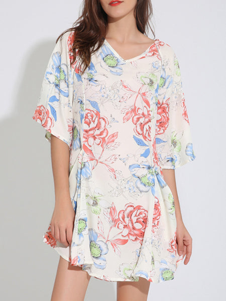 V-Neck Draped Pocket Printed Attractive Plus Size Shift Dress - Bychicstyle.com