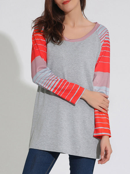 Loose Round Neck Striped Striped Plus Size T-Shirt - Bychicstyle.com