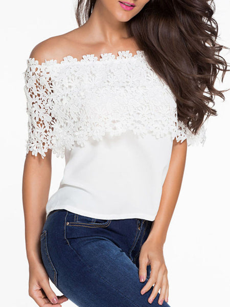 Off Shoulder Charming Decorative Lace Plain Short Sleeve T-Shirt - Bychicstyle.com