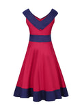 ByChicStyle V-Neck Decorative Button Awesome Color Block Plus Size Flared Dress - Bychicstyle.com